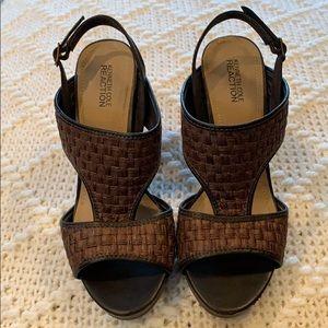 Size 8 Brown Woven Design Sandals & Cork Heel